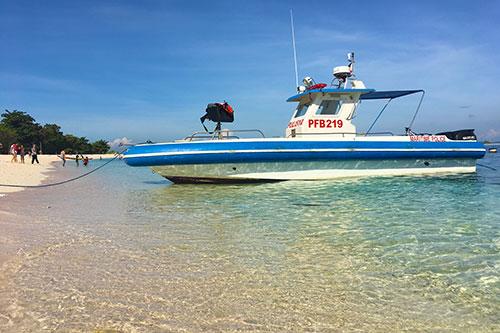 Maritime patrol boat station at the Great Santa Cruz Island in Zamboanga City