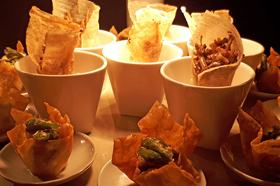 Sisig baskets and ngohiong cones