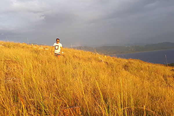 The orange tint of the sunset is reflected by the cogon grass in Mararison