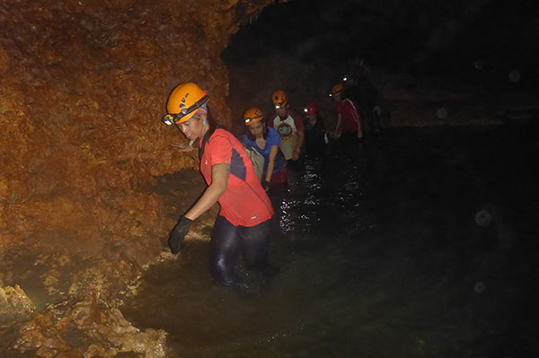 River crossing in Langun Cave