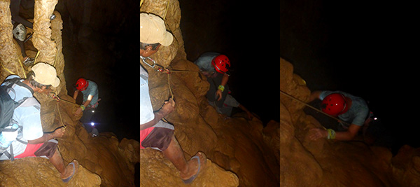 Rope-assisted vertical descent in Gobingob Cave