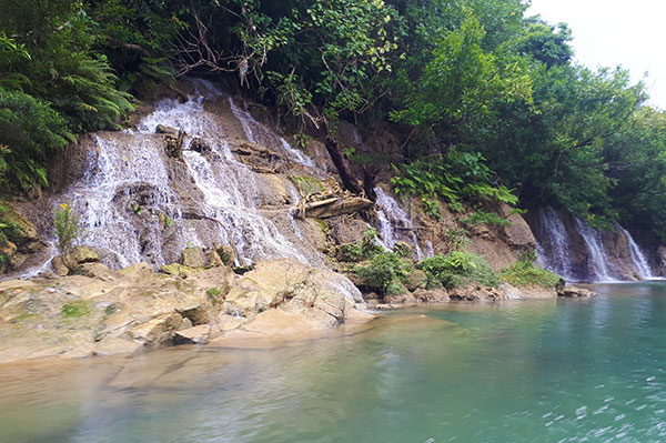 Waters falls on the elevated bank of Ulot River