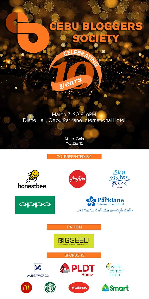 Cebu Bloggers Society 10-year Anniversary Gala Poster