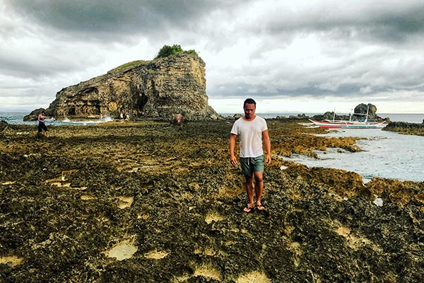 Braving through the spiky rocks of Dakit dakit Island
