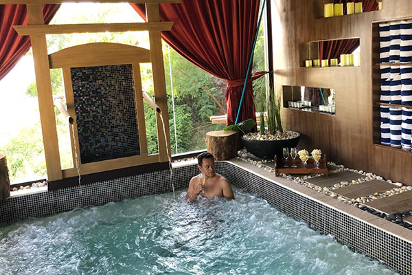 Refreshing jacuzzi experience at The Spa