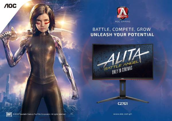 Alita: Battle Angel in partnership with AOC Agon