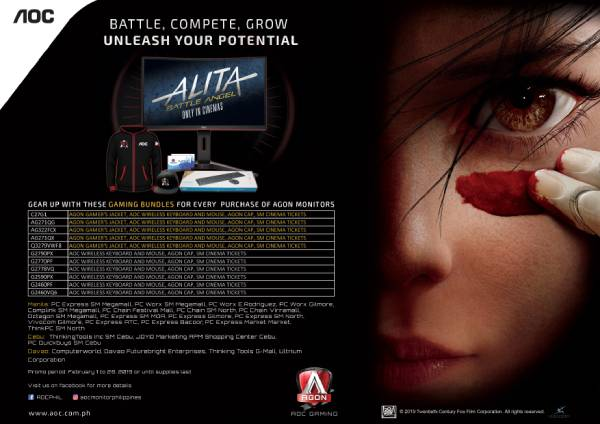 AOC Agon gaming monitors promotion with the list of store where you can avail the promo