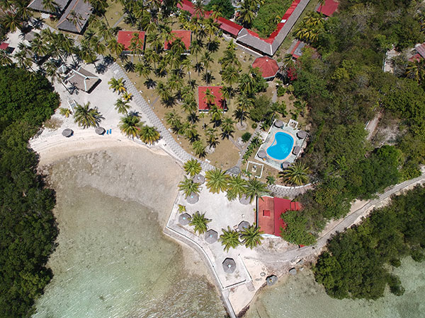 Top view of Whispering Palms Island Resort