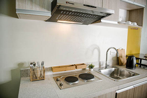 Each room has its own electric cook top, sink, and utensils