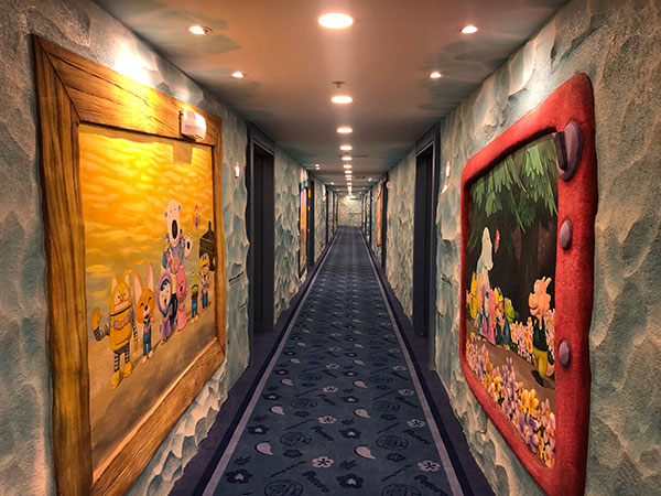 Pororo-themed hallway at Jpark Island Resort