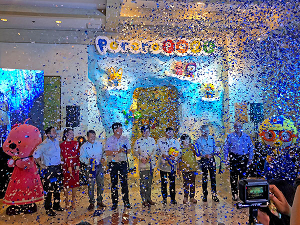 Ribbon cutting ceremony for the Grand Opening of PororoPark with Jpark and Iconix Entertainment executives