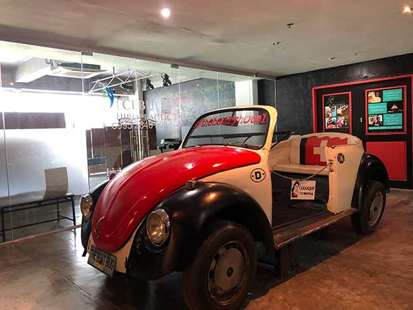 This chic car is on display at the hotel's locator floor
