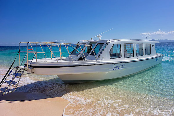 Paraiso 2 speedboat, the Club Paradise Palawan's flagship boat for island transfer.