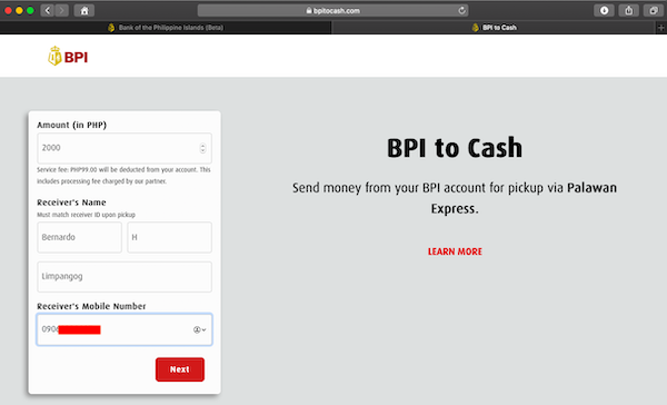 BPI to Cash home page