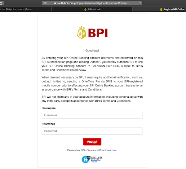 BPI Authentication Page