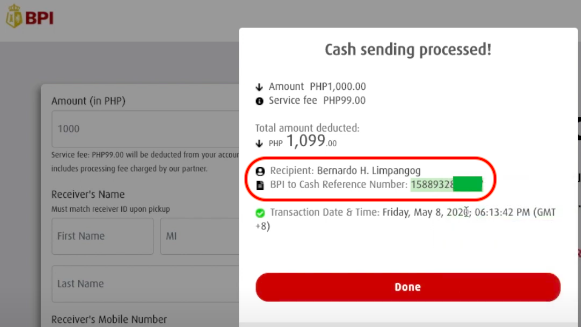 BPI to Palawan Pera Padala Reference Number