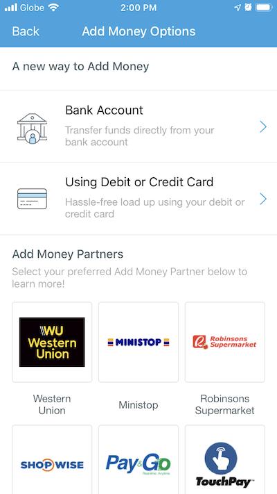 PayMaya Cash-in methods