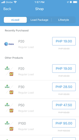 Buy Globe Autoload Max and Smart/TnT eload using PayMaya