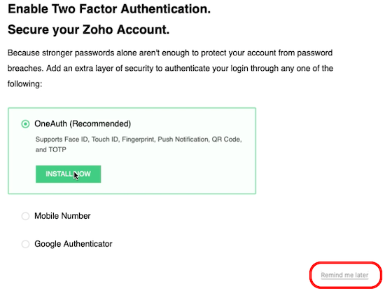 Zoho Mail 2-factor authentication setup
