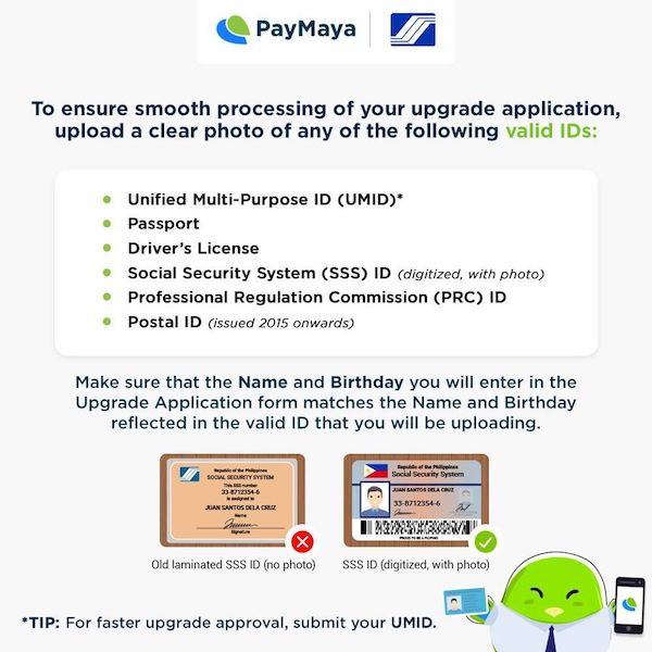ID that you can use to upgrade your PayMaya account
