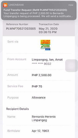 UnionBank to Palawan Reference Number