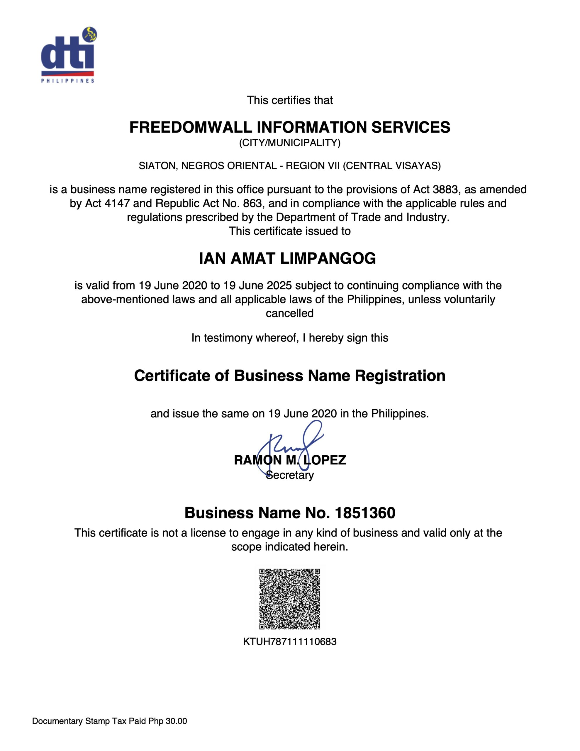 DTI Registration - FreedomWall Information Services