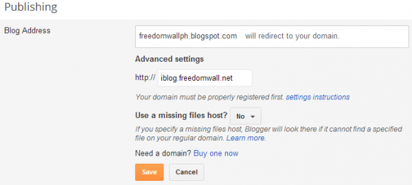 blogger add custom subdomain advanced settings