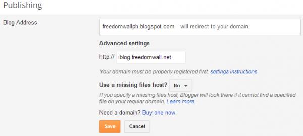 blogger add custom subdomain advanced settings