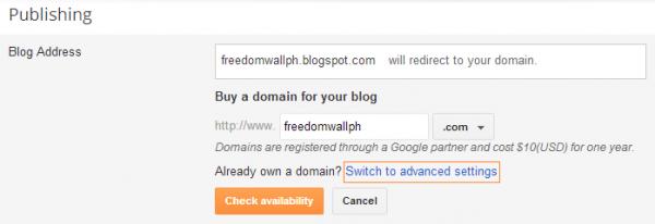 blogger add custom subdomain selection