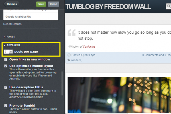 change number of post showing in tumbr blog homepage