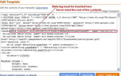 meta tag location for blogger