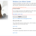 Windows Live Admin Center