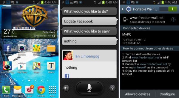 Samsung Galaxy SIII Mini's popup play, S-voice, and WiFi hotspot screens