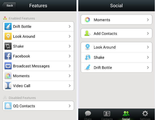 wechat features and social screens