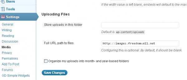wordpress media settings same directory