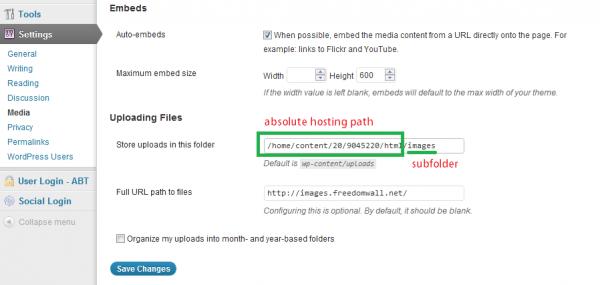 wordpress media settings subfolder