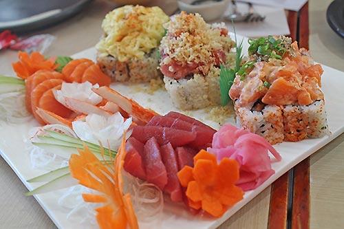 Sumo Sam's Assorted Sushi and Sashimi plate